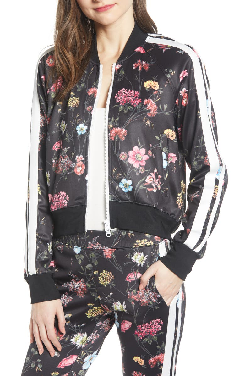 PAM & GELA Fineline Floral Crop Track Jacket, Main, color, 001