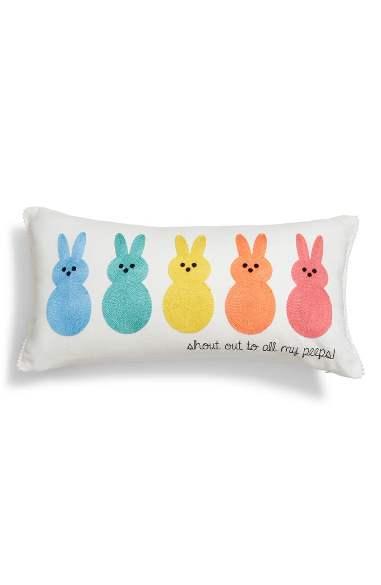 LEVTEX Embroidered Bunny Accent Pillow, Main, color, 100