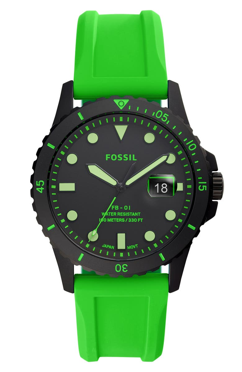 FOSSIL FB-01 Silicone Strap Watch, 42mm, Main, color, 300