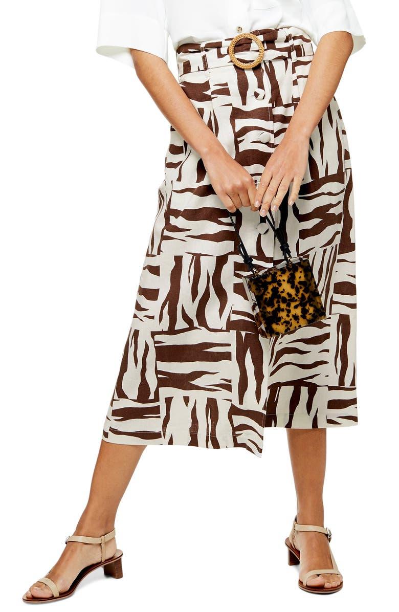 great prices 50-70%off hot product Topshop Zebra Print Linen Blend Midi Skirt | Nordstrom