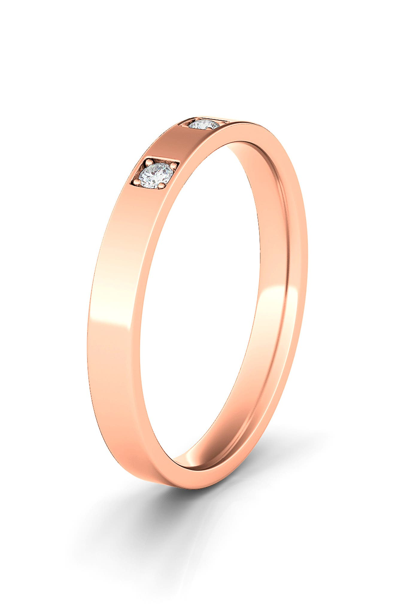Lab Created Diamond In The Band 14K Gold Ring