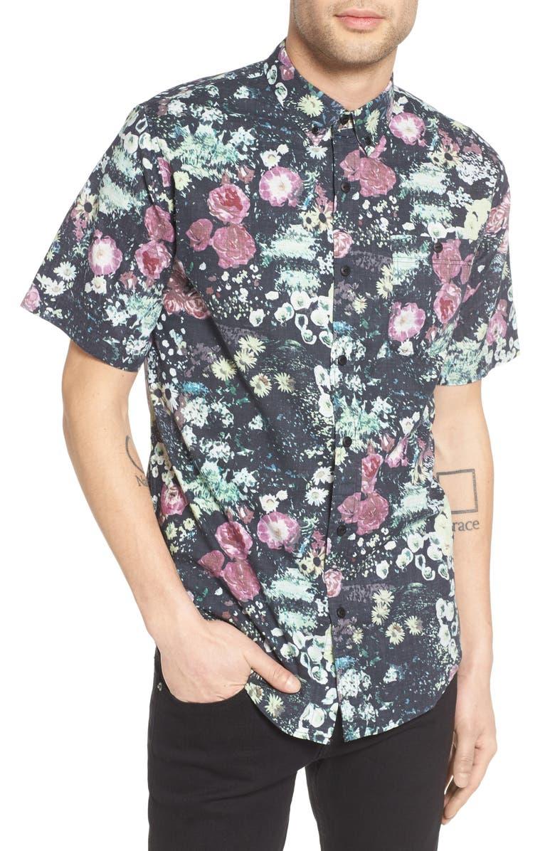 EZEKIEL Floral Print Woven Shirt, Main, color, 001
