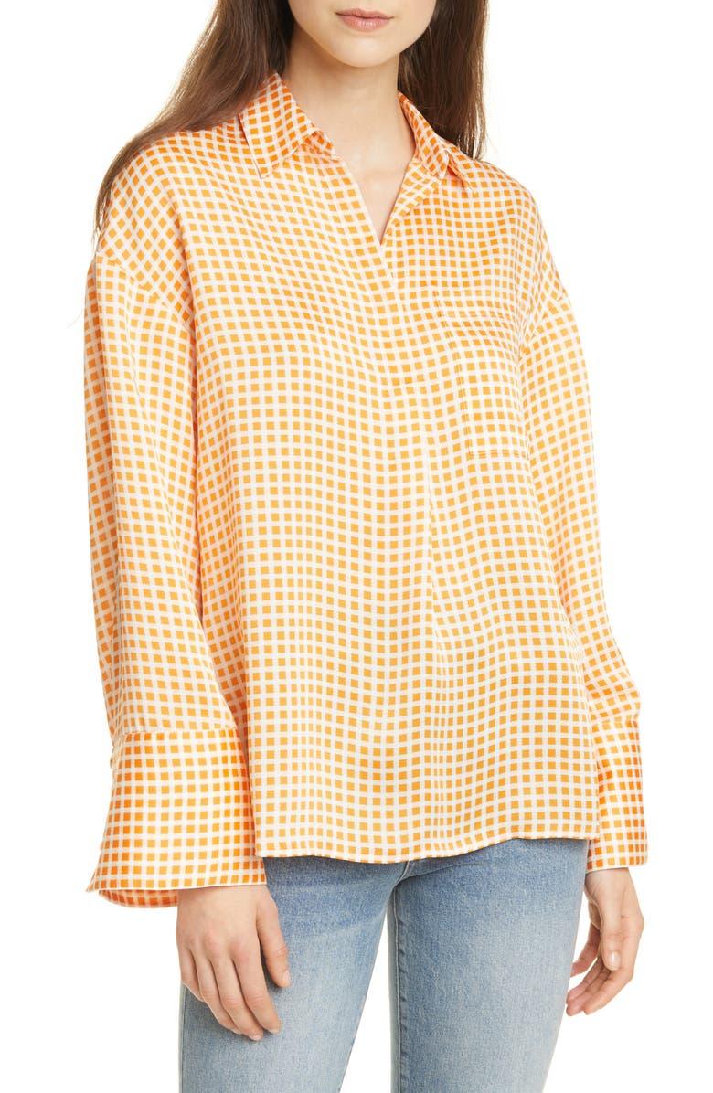 CLUB MONACO Gingham Popover Pocket Shirt, Main, color, GINGHAM MULTI