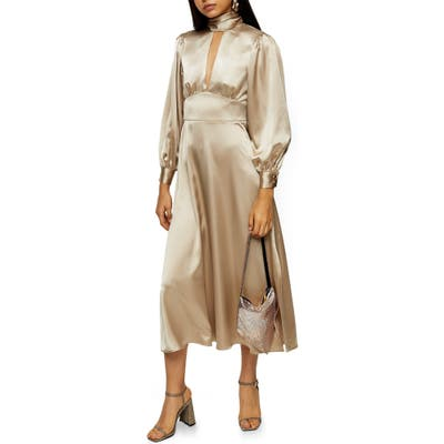 Topshop Long Sleeve Satin Midi Dress, US (fits like 2-4) - Metallic
