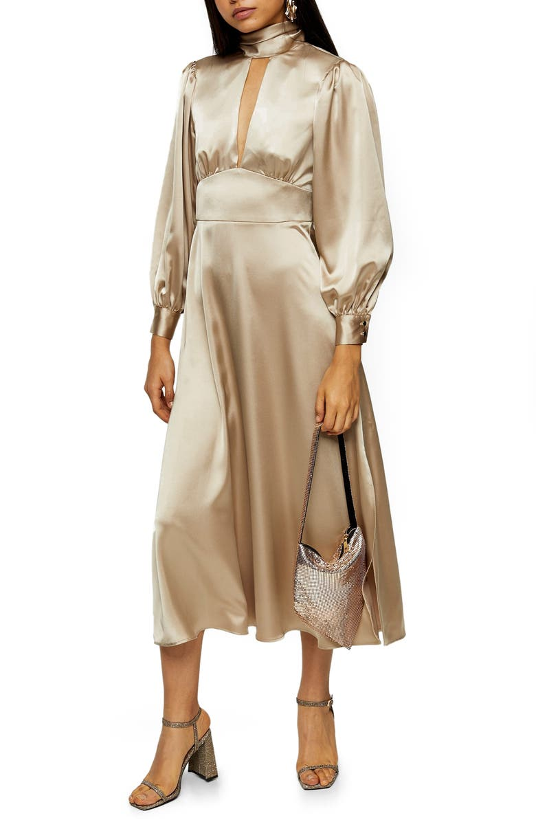 TOPSHOP Long Sleeve Satin Midi Dress, Main, color, GOLD