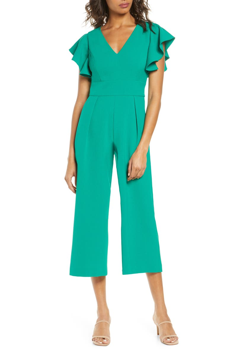 ELIZA J Ruffle Sleeve Crepe Jumpsuit, Main, color, KELLY