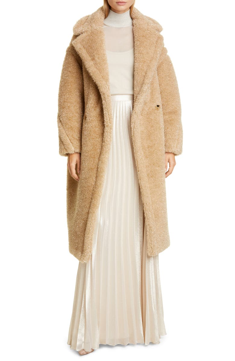 MAX MARA Park Metallic Faux Fur Teddy Bear Coat, Main, color, 256