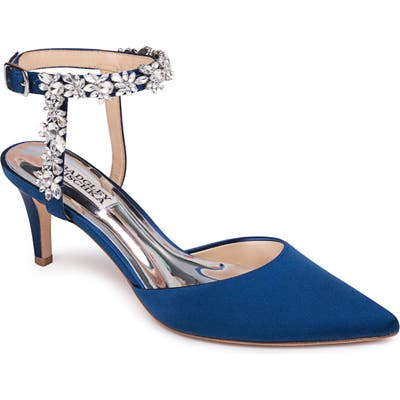 Badgley Mischka Esmeralda Embellished Pointed Toe Pump, Blue