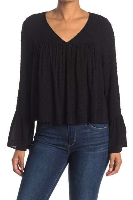 Image of We My People Swiss Dot Bell Sleeve Top