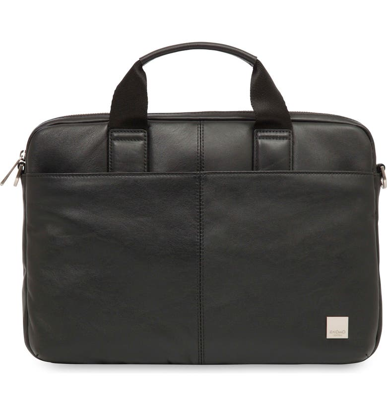 KNOMO LONDON Brompton Stanford RFID Leather Briefcase, Main, color, 001