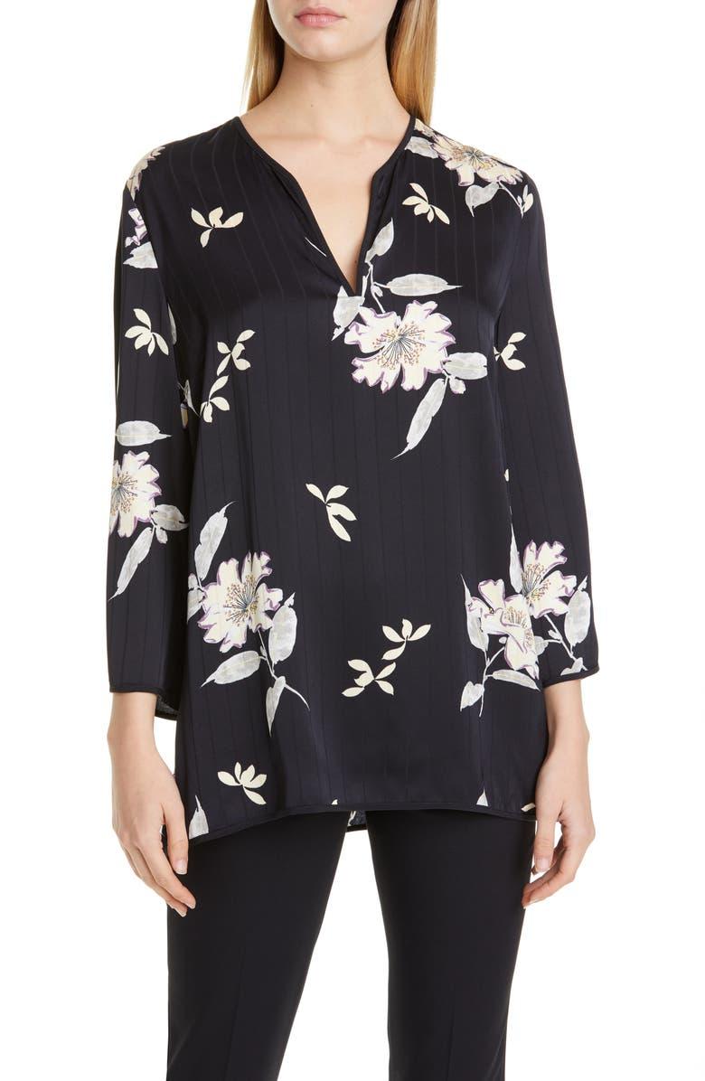 ETRO Floral Print Blouse, Main, color, BLACK