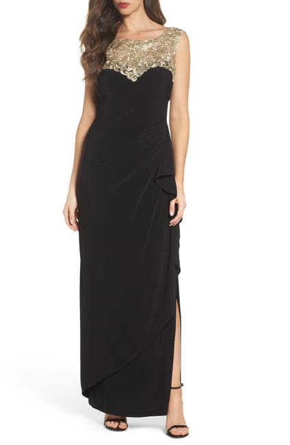 Image of Alex Evenings Embroidered Side Ruched Gown
