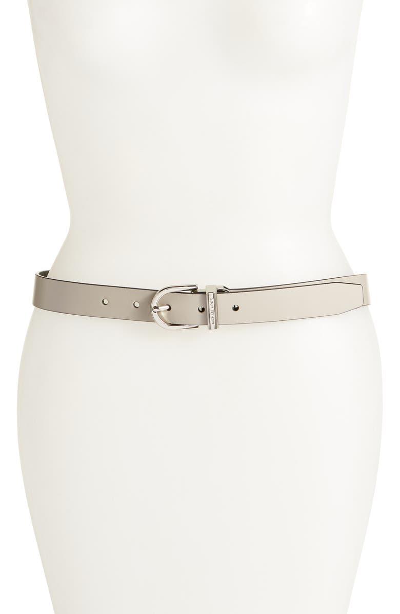 MICHAEL KORS MICHAEL Michael Kors Reversible Leather Belt, Main, color, PEARL GREY