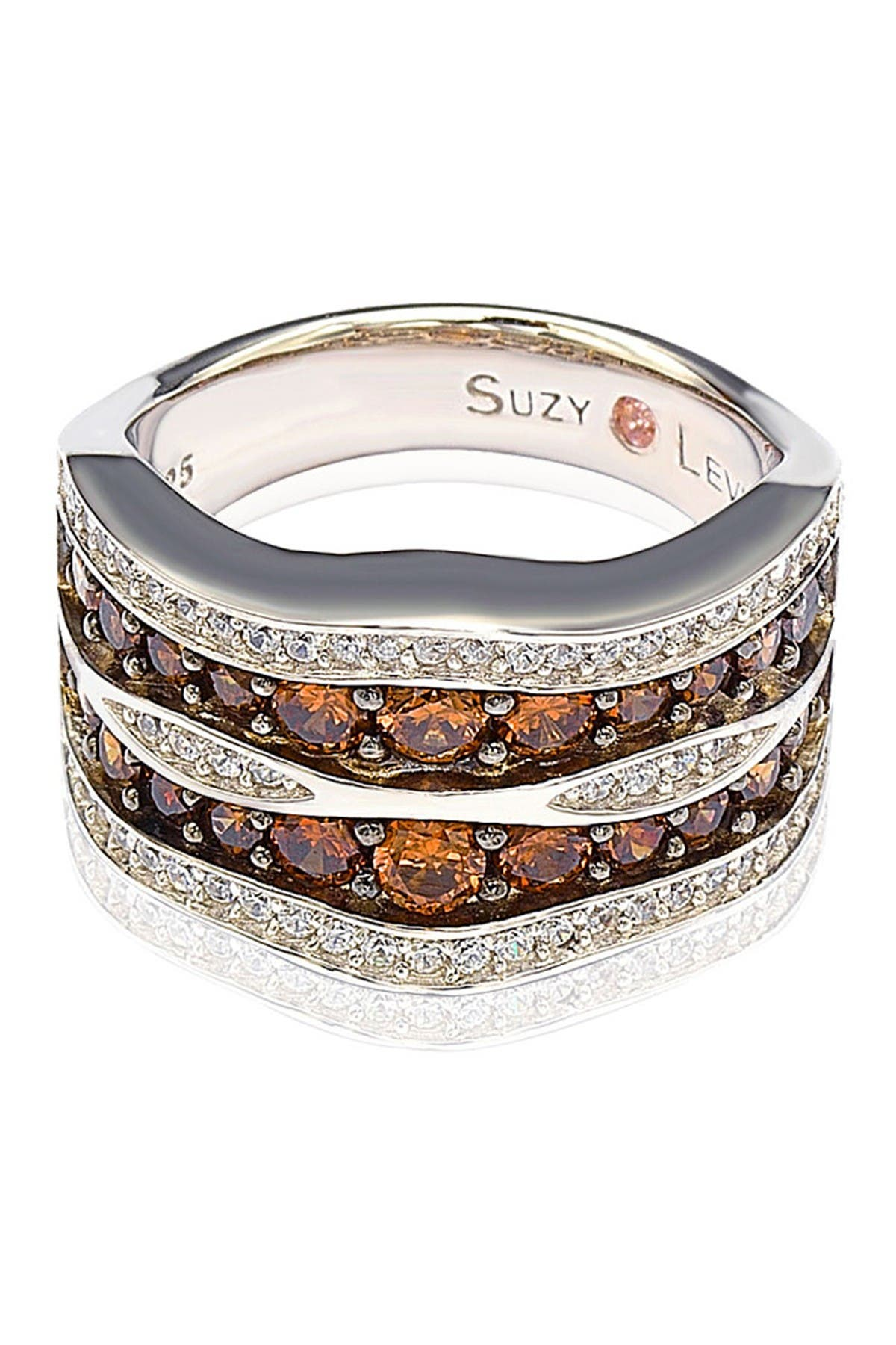 Image of Suzy Levian Sterling Silver Brown & White CZ Double Stripe Wave Ring