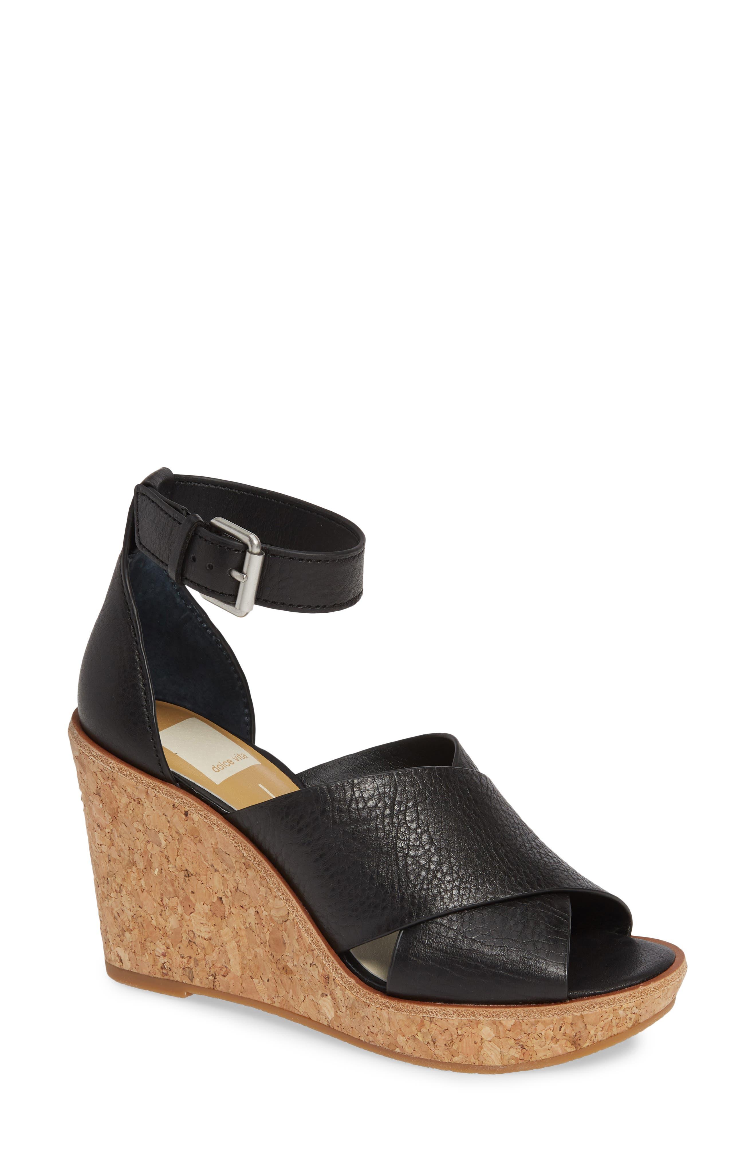 Urbane Wedge Sandal, Main, color, BLACK LEATHER