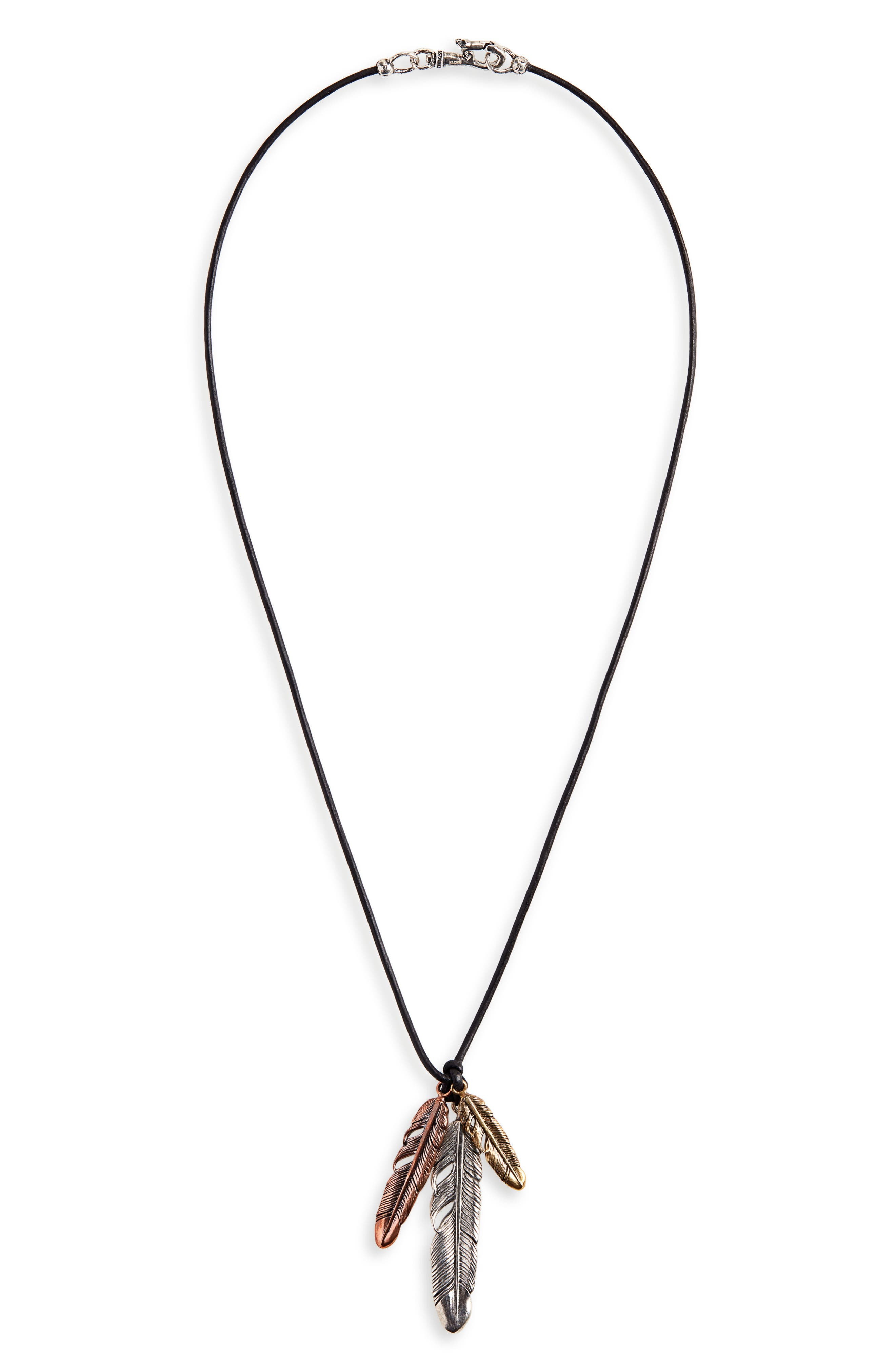 Mixed Feather Pendant Necklace