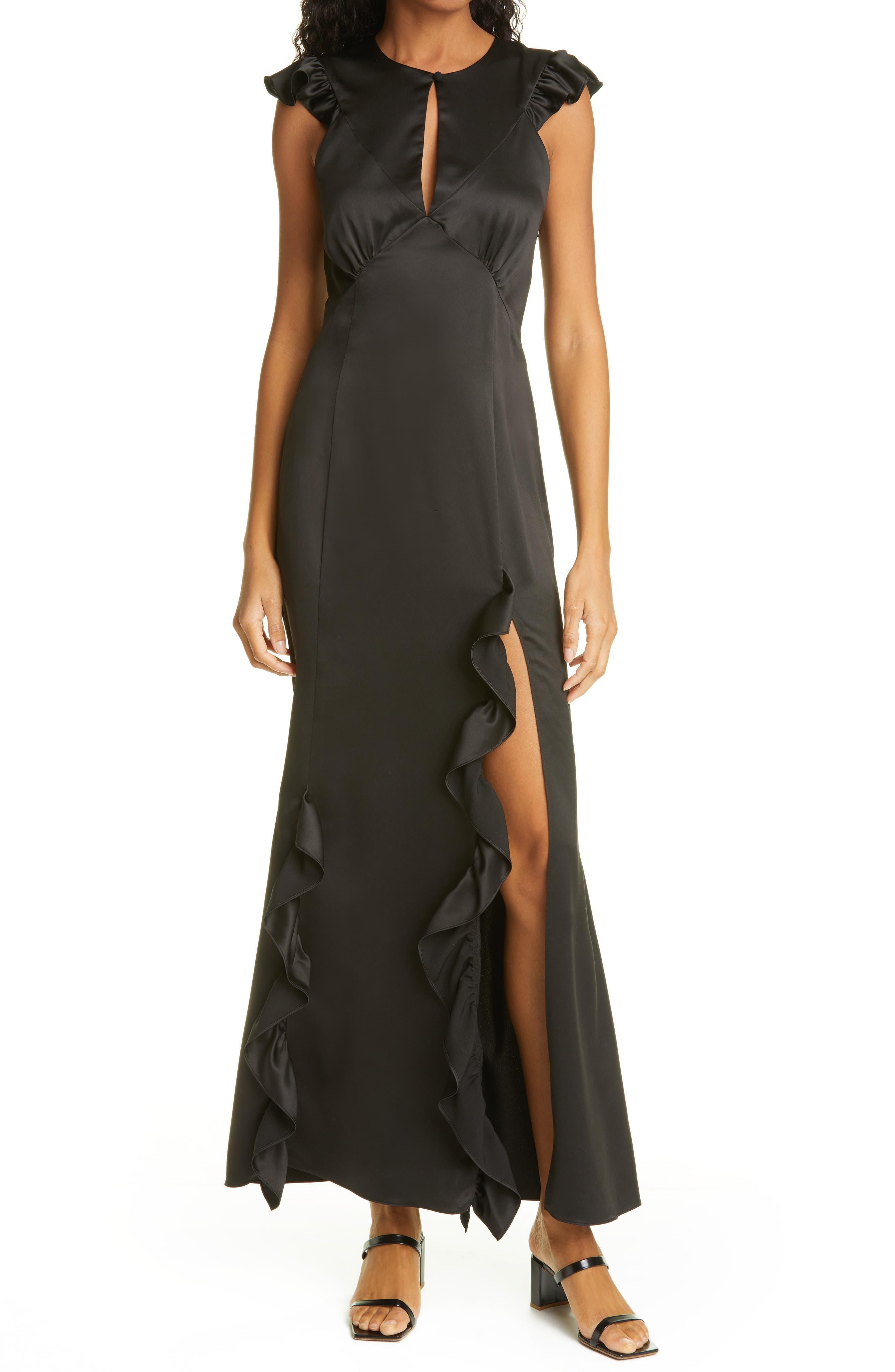 Ruffle Trim Satin Gown