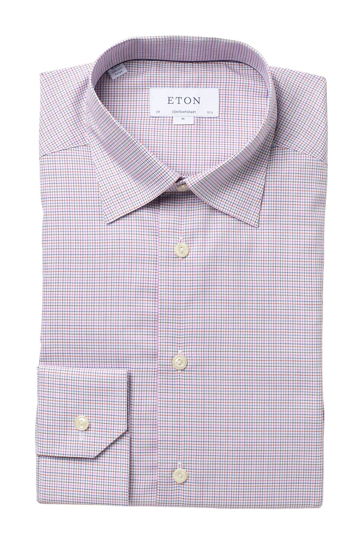 Image of Eton Grid Twill Contemporary Fit Dress Shirt