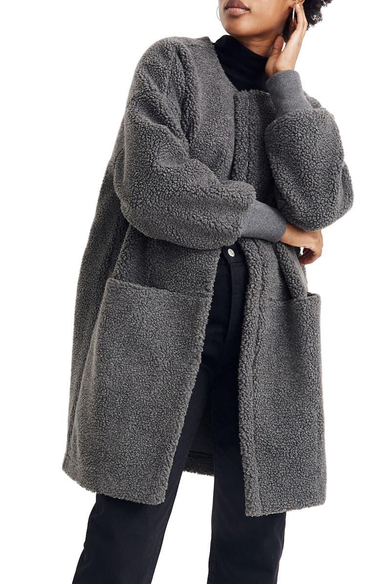 MADEWELL Bonded Fleece Cocoon Coat, Main, color, HEATHER CARBON