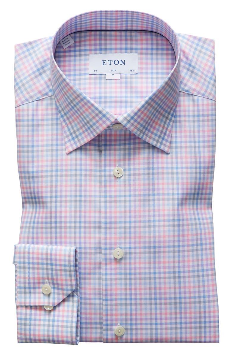 ETON Slim Fit Plaid Dress Shirt, Main, color, PINK