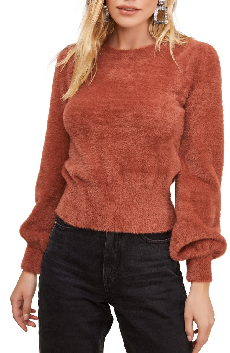 ASTR THE LABEL Sorbet Balloon Sleeve Sweater, Main, color, MAUVE