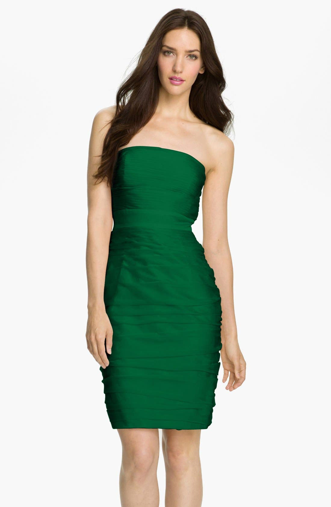 ,                             Ruched Strapless Cationic Chiffon Dress,                             Main thumbnail 31, color,                             305