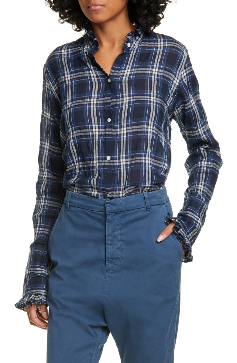 NILI LOTAN Vivian Plaid Shirt, Main, color, NAVY/ WHITE