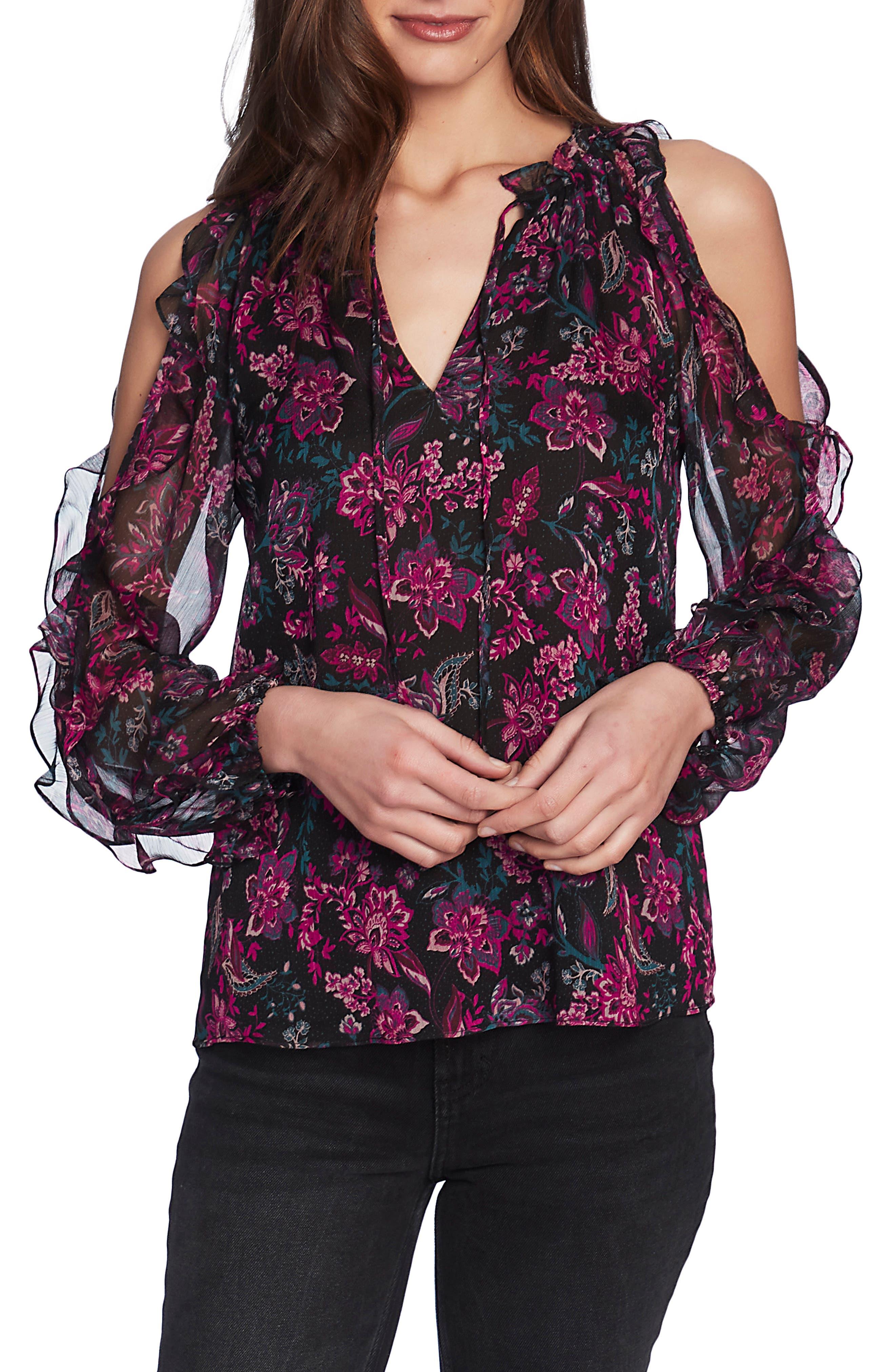 1.STATE Floral Print Cold Shoulder Blouse | Nordstrom