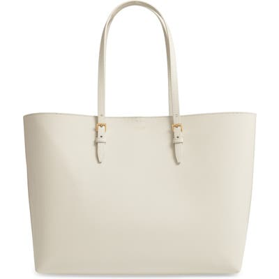 Saint Laurent Medium East/west Leather Shopping Tote - White