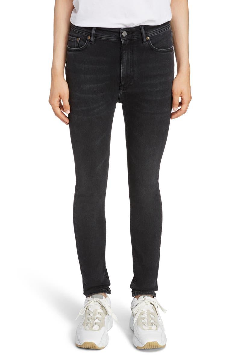 ACNE STUDIOS Peg High Waist Skinny Jeans, Main, color, USED BLACK