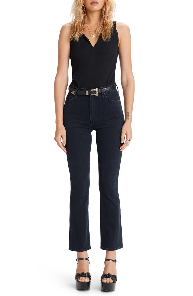 MOTHER The Insider High Waist Ankle Bootcut Jeans, Main, color, BLACKBIRD