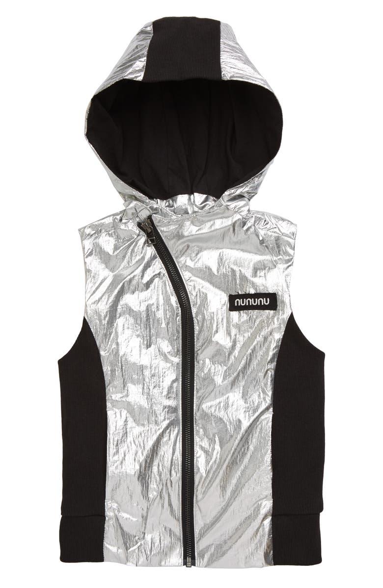 NUNUNU Duo Nylon Metallic Hooded Vest, Main, color, SILVER/ BLACK