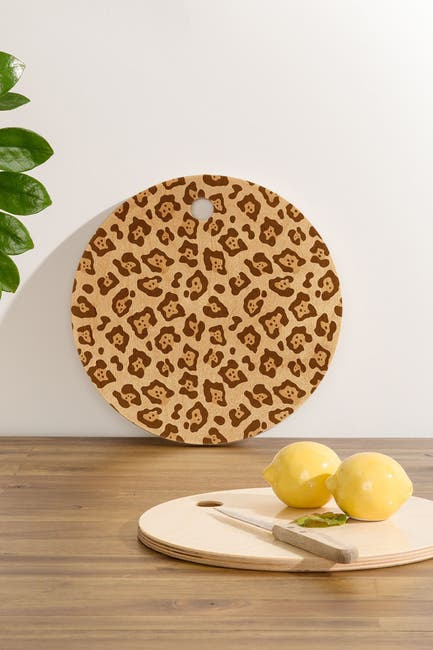 Image of Deny Designs Avenie Jaguar Print Round Cutting Board