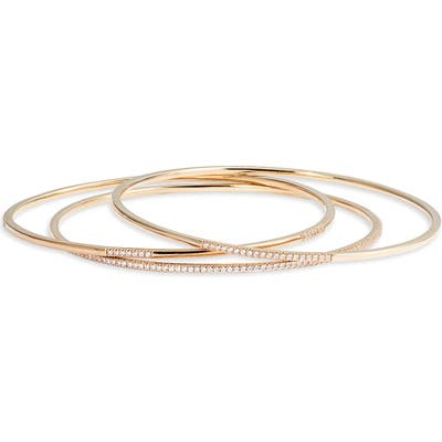 Nordstrom Set Of 3 Dainty Pave Bangles