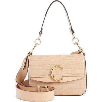 Chloe Croc Embossed Leather Shoulder Bag - Beige