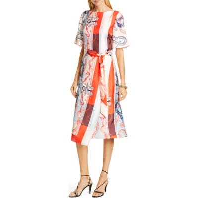St. John Collection Mariner Print Silk Twill Midi Dress, Red