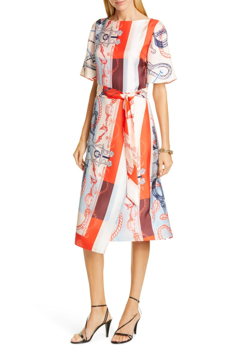 ST. JOHN COLLECTION Mariner Print Silk Twill Midi Dress, Main, color, GERANIUM