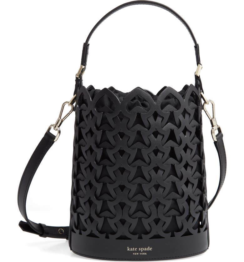 KATE SPADE NEW YORK small dorie leather bucket bag, Main, color, 001