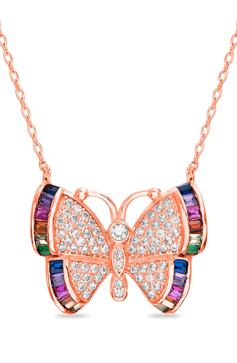 LESA MICHELE Rainbow Butterfly Cubic Zirconia Necklace, Main, color, 710