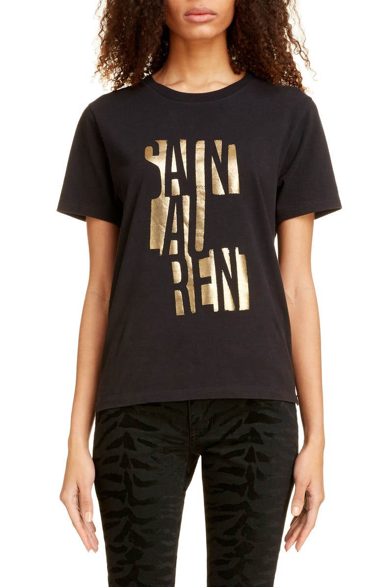 SAINT LAURENT Contrast Logo Graphic Tee, Main, color, NOIR/ DOREE