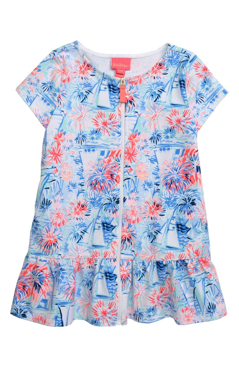 LILLY PULITZER<SUP>®</SUP> Ivy UPF 50+ Zip Cover-Up Dress, Main, color, BLUE TINT SEA TO SHINING SEA