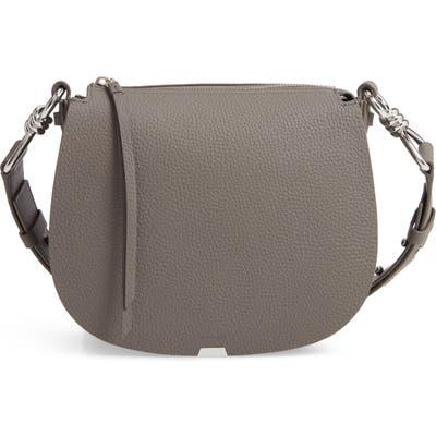 Allsaints Captain Round Leather Crossbody Bag - Grey