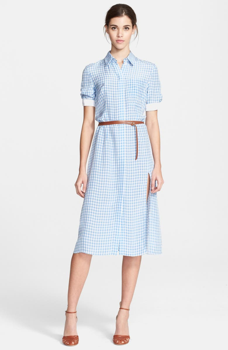 ALTUZARRA 'Kieran' Belted Gingham Shirtdress, Main, color, 460