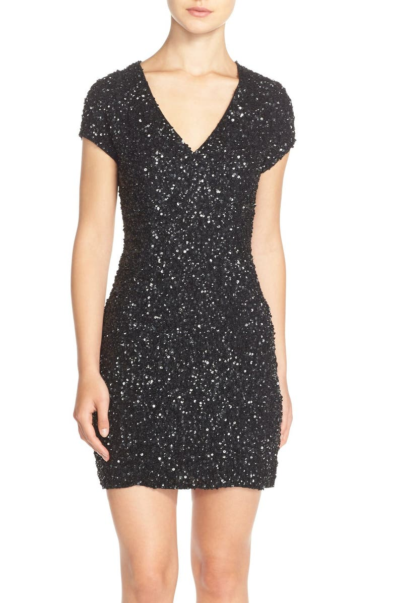 PARKER BLACK Parker 'Serena' Sequin Silk Body-Con Dress, Main, color, 001