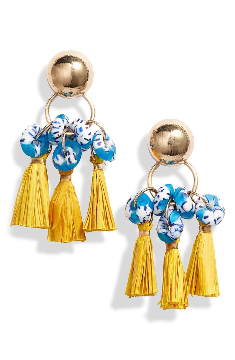 AKOLA Flaca Tassel Drop Earrings, Main, color, 700
