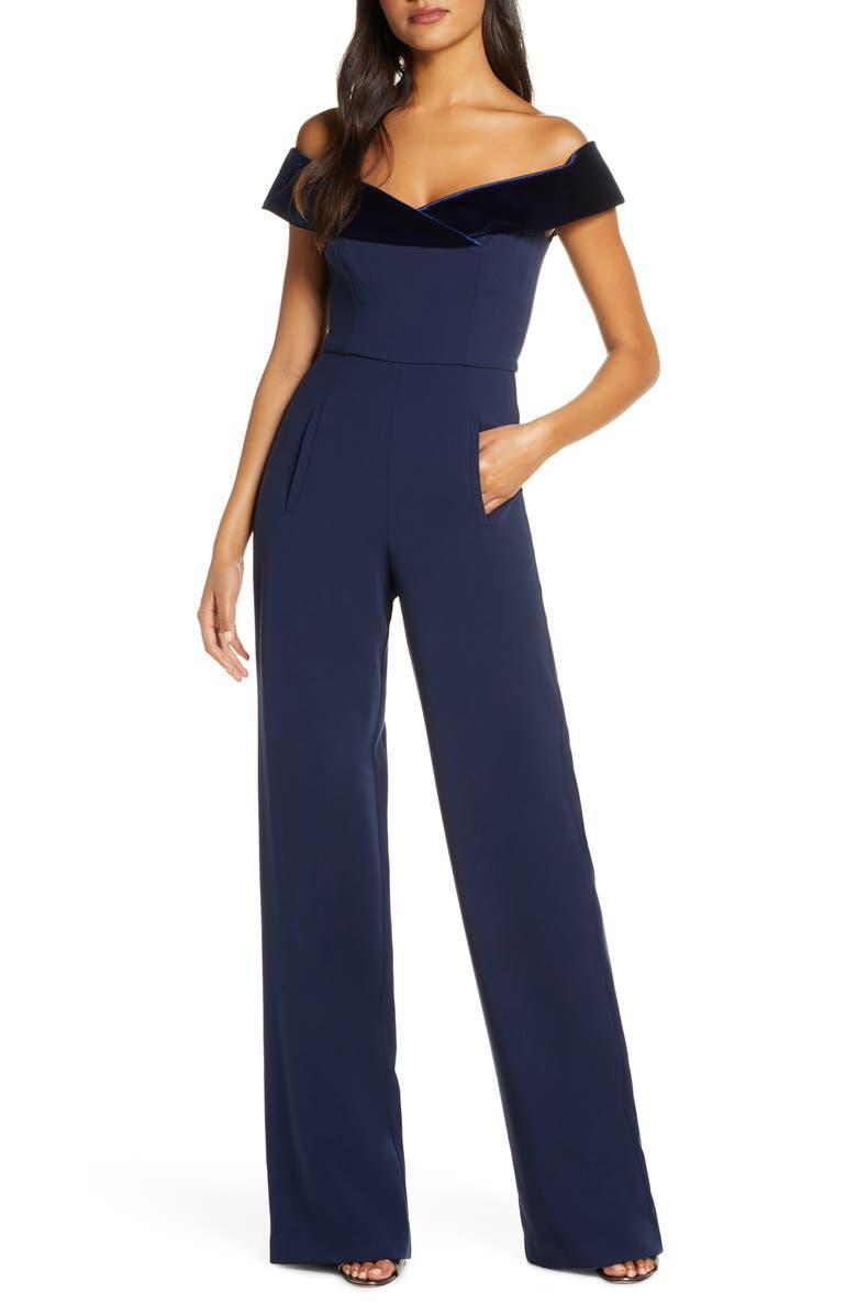 BLACK HALO Yoli Velvet Trim Off the Shoulder Jumpsuit, Main, color, NAVY/ PACIFIC BLUE