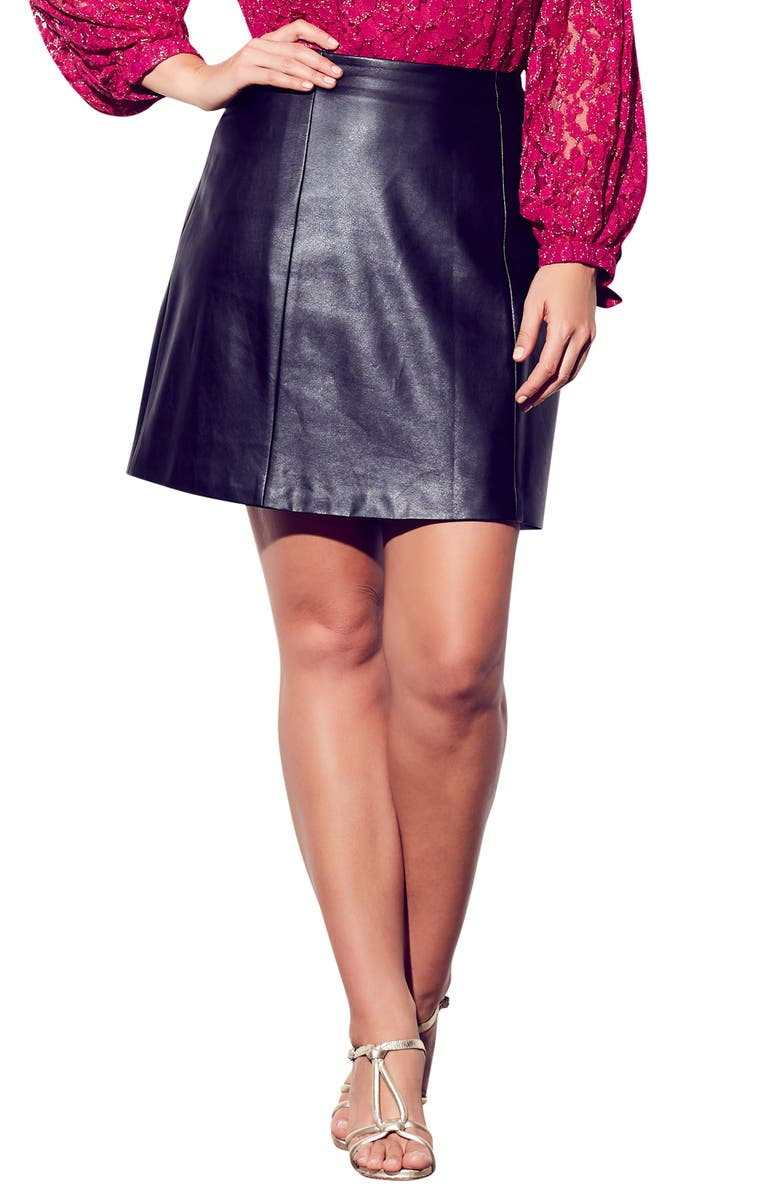 CITY CHIC Party Faux Leather Miniskirt, Main, color, 001