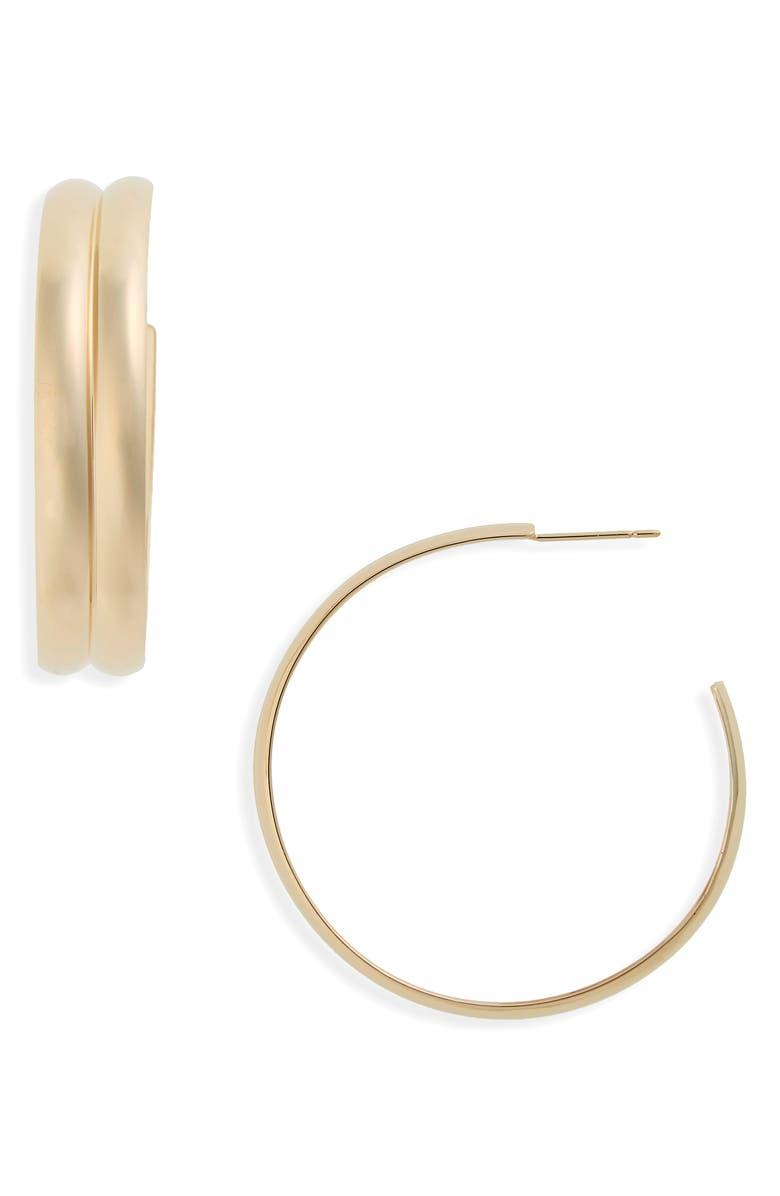 LANA JEWELRY Double Curve Wide Hoop Earrings, Main, color, 710
