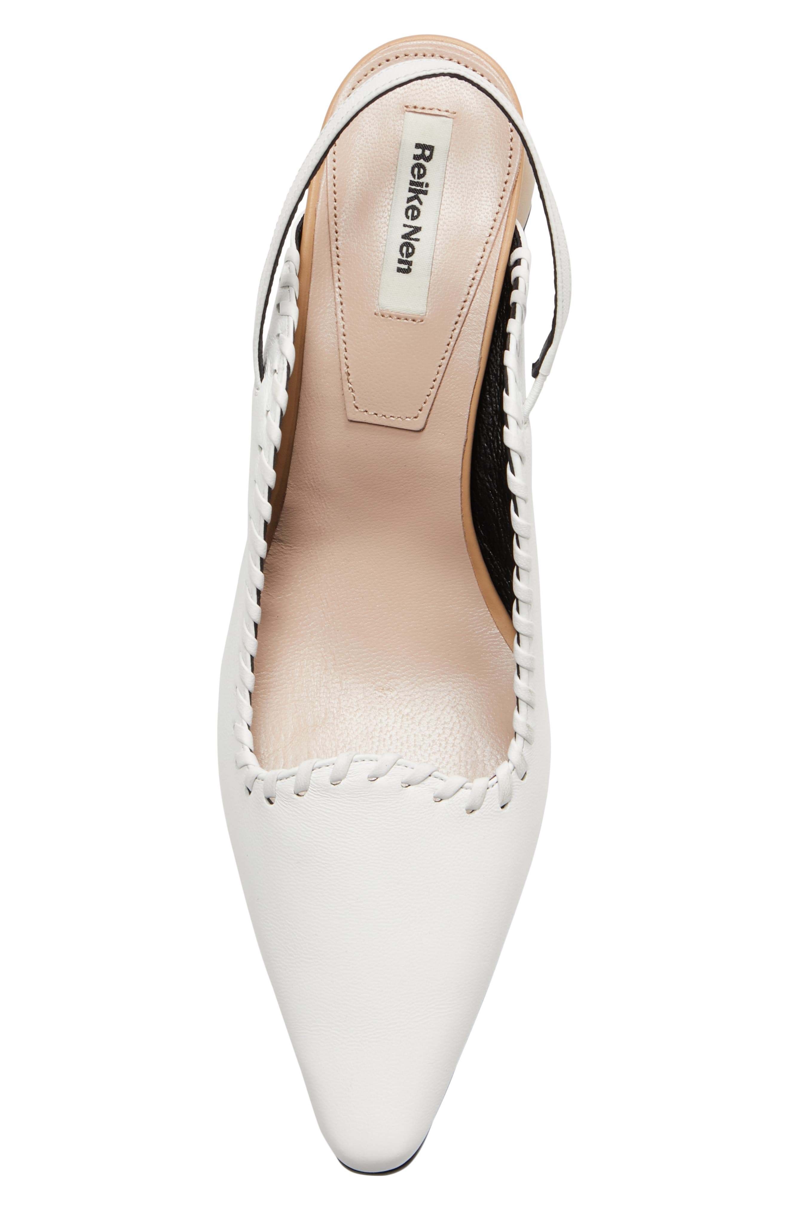 ,                             Curved Middle Slingback Pump,                             Alternate thumbnail 5, color,                             WHITE BEIGE