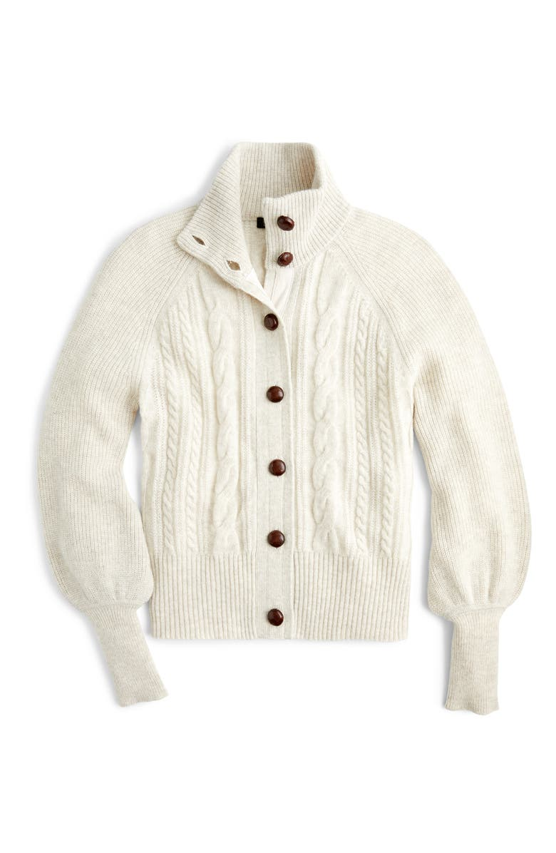 J.CREW Balloon Sleeve Cable Knit Cardigan, Alternate, color, HEATHER OATMEAL